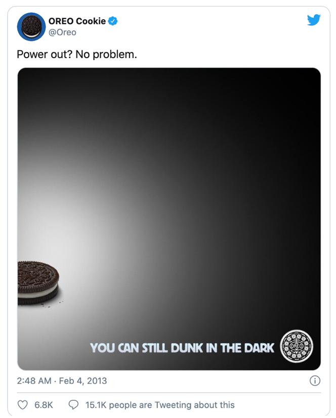 Reklame fra Oreo med Dunk in the Dark